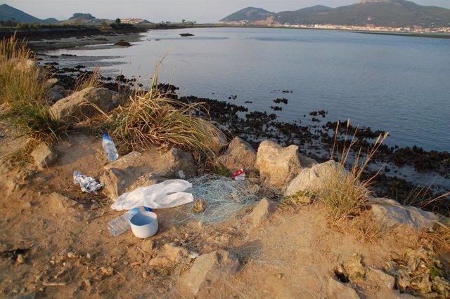 Residuos en las marismas de Santoña