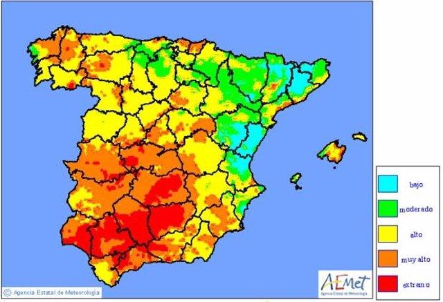 Mapa con la predicción de riesgo de incendios para el miércoles 6