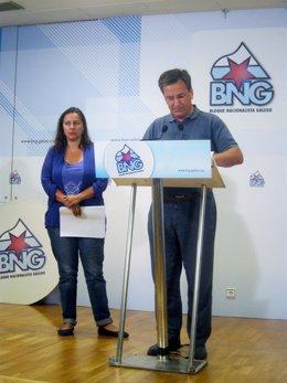 La eurodiputada del BNG Ana Miranda y el portavoz nacional, Xavier Vence
