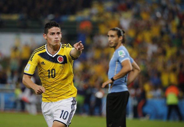 James Rodríguez tras marcar a Uruguay