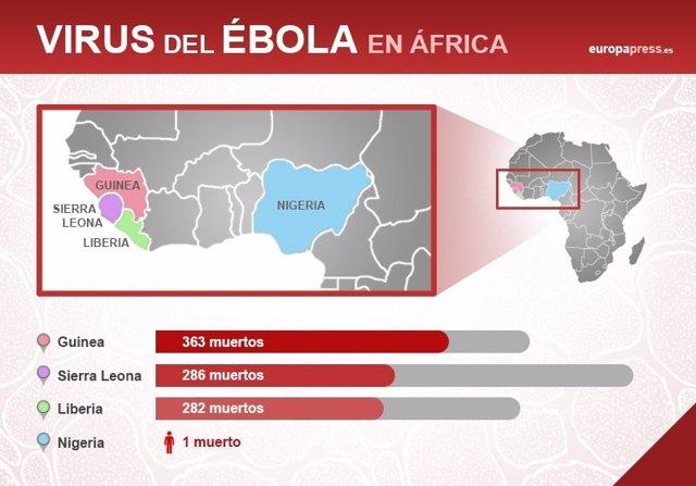 Mapa del virus del ébola en África