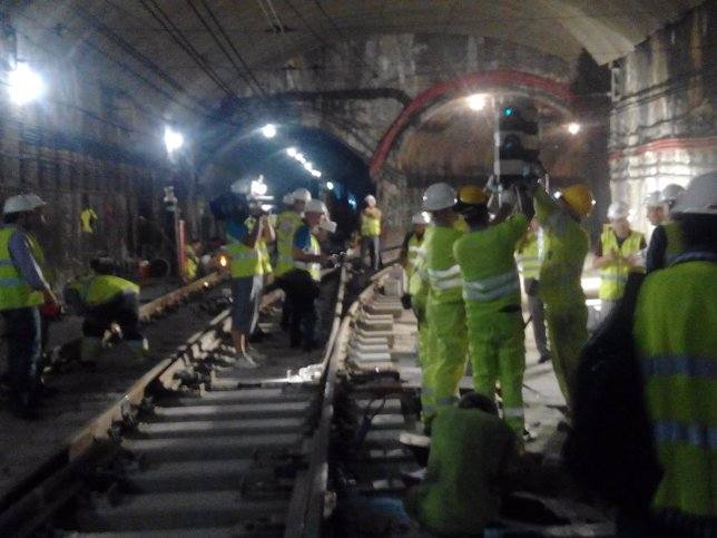 Obras en un tramo de la línea 5 de Metro de Madrid