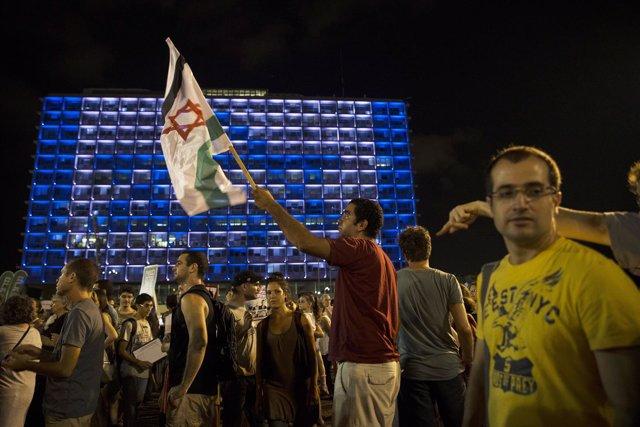 Manifestación pacifista en la plaza Rabin de Tel Aviv