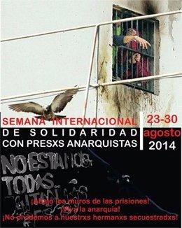 Cartel que llama a la solidaridad con los presos anarquistas