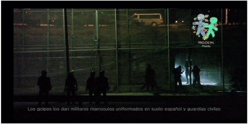 Inmigrantes golpeados en la valla