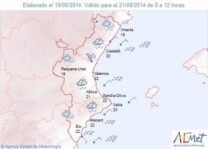 Las temperaturas máximas bajarán en la Comunitat y en la mitad norte se esperan chubascos