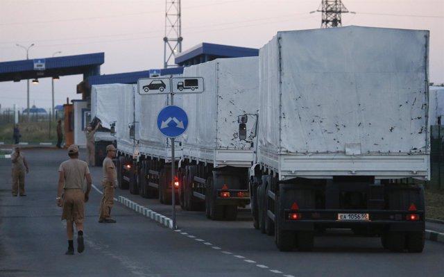 El convoy de ayuda humanitaria destinado a Ucrania vuelve a Rusia