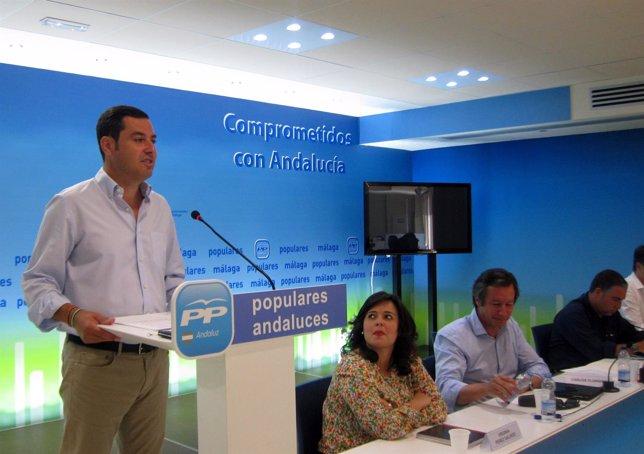 Juanma Moreno y Carlos Floriano comité dirección PP-A en Málaga