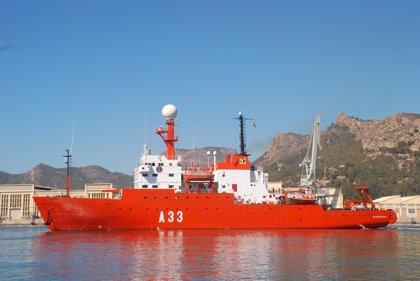El buque de investigación oceanográfica Hésperides zarpa de Cartagera para la campaña de estudios en Gran Canaria