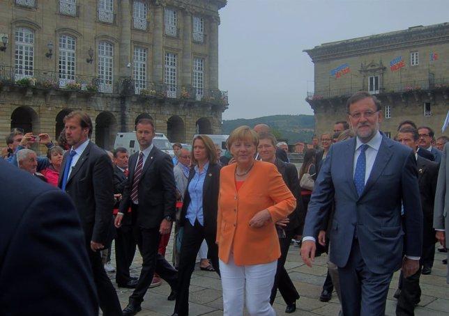 La canciller alemana, Angela Merkel, y el presidente del Gobierno, Mariano Rajoy