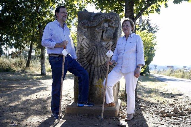 Rajoy y Merkel en un momento del Camino