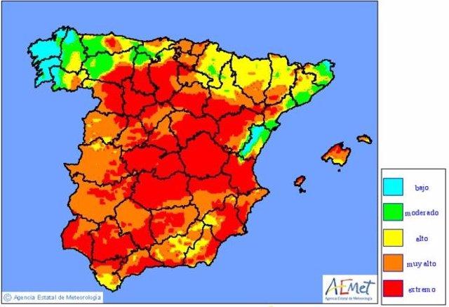 Mapa con la previsión de incendios para el martes 26 de agosto