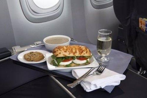 Menú a bordo de United Airlines