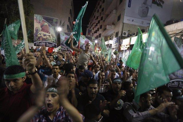 Festejos en Ramala por el acuerdo con Israel