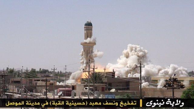 Mezquita destruida por los yihadistas en Mosul