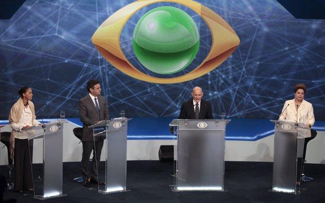 Los candidatos a la Presidencia de Brasil en su primer debate televisado