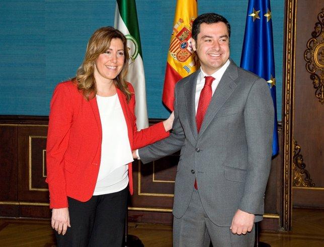 Susana Díaz y Juan Manuel Moreno, este lunes