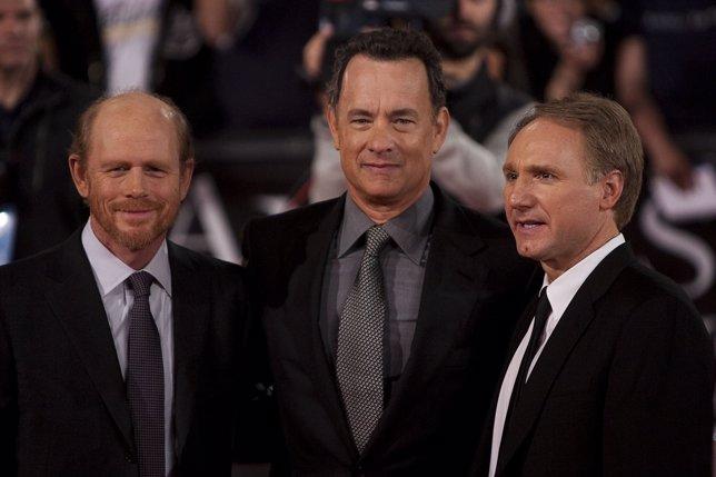 Tom Hanks, Dan Brown y Ron Howard