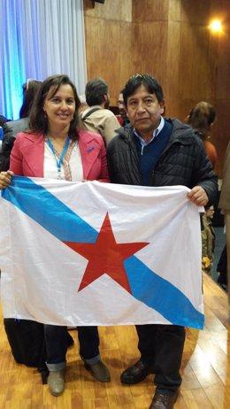 Ana Miranda con el ministro de Exteriores de Bolivia
