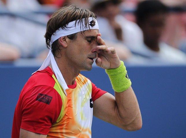 David Ferrer en la derrota ante Simon en el US Open