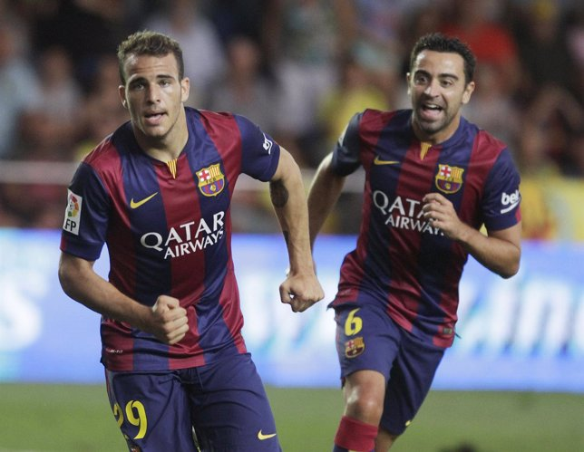 Sandro celebra el gol de la victoria ante el Villarreal