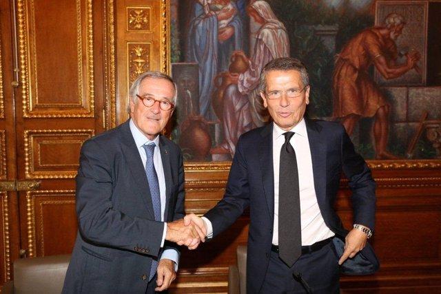 El alcalde de Barcelona X.Trias y el consejero delegado de Endesa A.Brentan