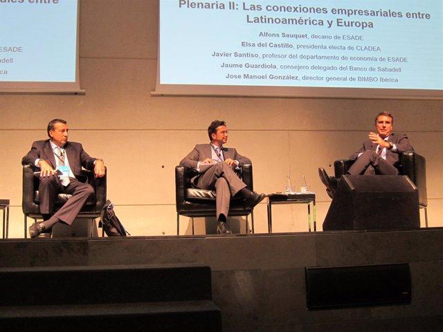 J.M.González (Bimbo), J.Santiso (Esade) y J.Guardiola (Banco Sabadell)