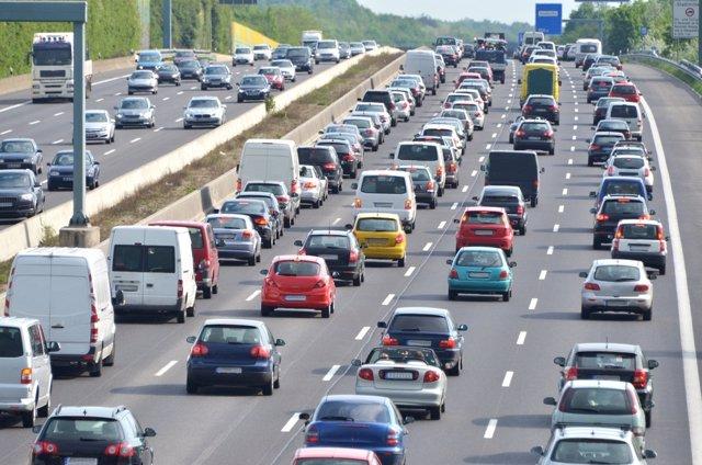 Tráfico, atasco, coches, vehículos, carretera,