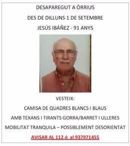 Buscan a un anciano de 91 años desaparecido en Òrrius