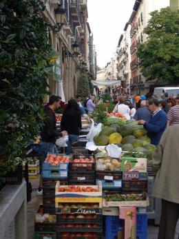Verduras en el mercado del Concurso Agrícola de La Rioja