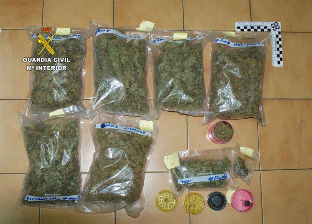 Marihuana intervenida por la Guardia Civil.