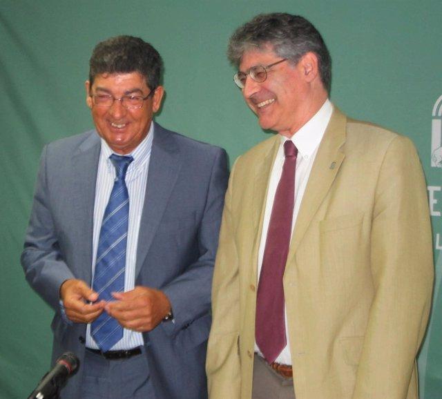 Diego Valderas y José Luis Pérez Tapias, hoy ante los medios