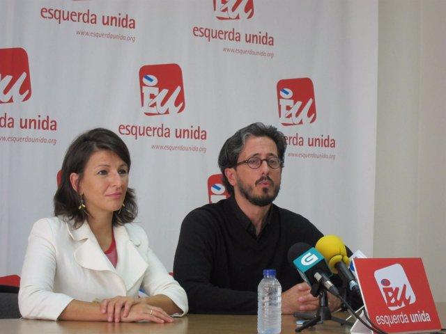 Yolanda Díaz y Carlos Portomeñe en rueda de prensa Esquerda Unida