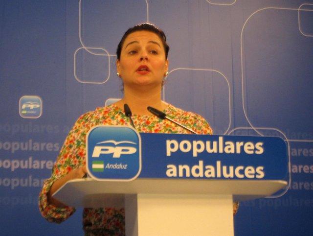 La vicesecretaria general del PP-A, Virginia Pérez, en rueda de prensa
