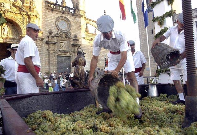 Pisa de la Uva en las 'Fiestas de la Vendimia'