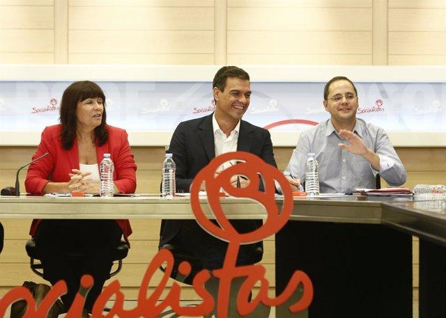 Pedro Sánchez, Micaela Navarro, César Luena