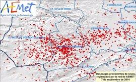La tormenta del domingo deja más de 3.200 rayos en la Comunitat Valenciana