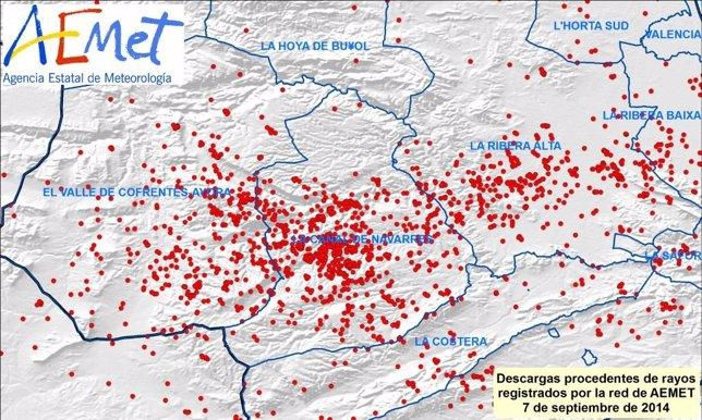 Rayos registrados el domingo en comarcas del sur de Valencia