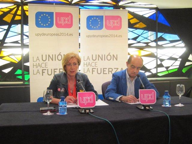 Rosa Díez y Fernando Maura en rueda de prensa