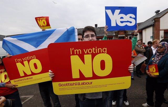 Partidarios de la independencia de Escocia y de su permanencia en Reino Unido