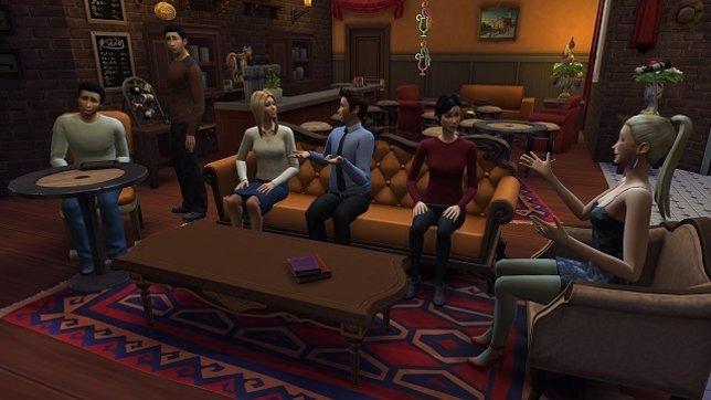 Friends en Central Perk como si fueran Sims