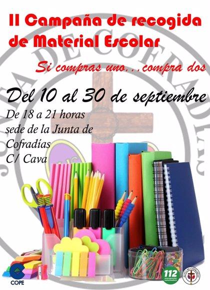 La Junta de Cofradías de Mérida inicia una campaña de recogida de material escolar para los más necesitados