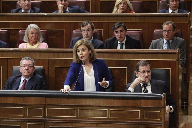 Alberto Ruiz Gallardón, Soraya Sáenz de Santamaría y Mariano Rajoy
