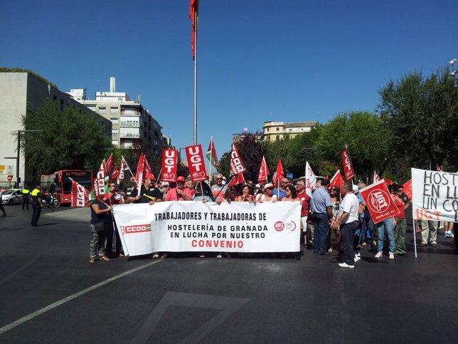 Manifestación en la huelga de Hostelería de Granada