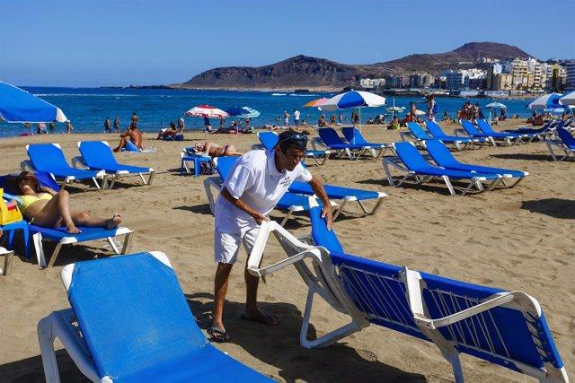 Hamaquero en la Playa de Las Canteras de Las Palmas de Gran Canaria