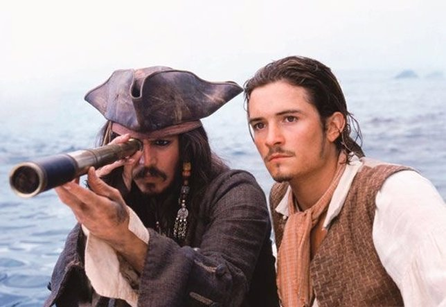 Johnny depp y Orlando Bloom en Piratas del Caribe
