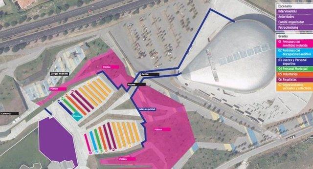 Plano de las ubicaciones del acto