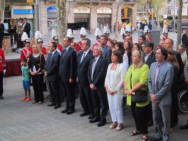 El alcalde Xavier Trias en la ofrenda floral a Casanova