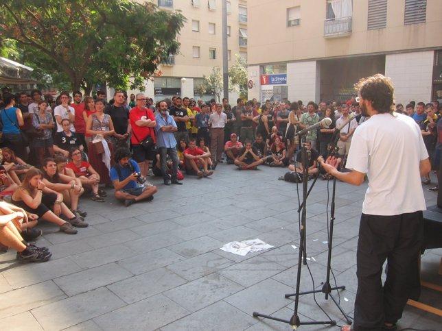 Concentración antifascista en el Raval con motivo de la Diada