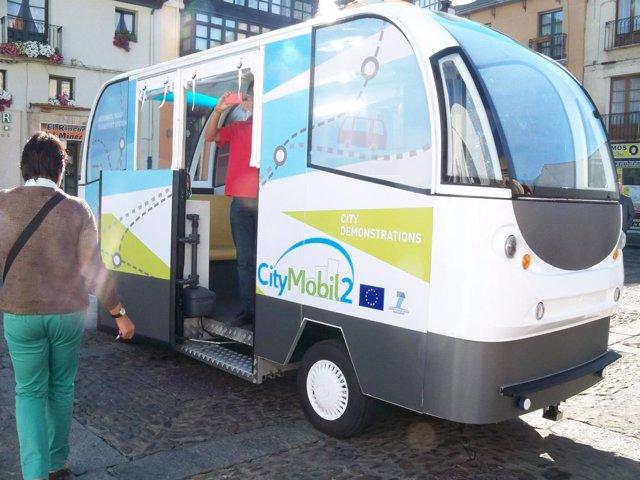 Uno de los vehículos eléctricos autónomos.